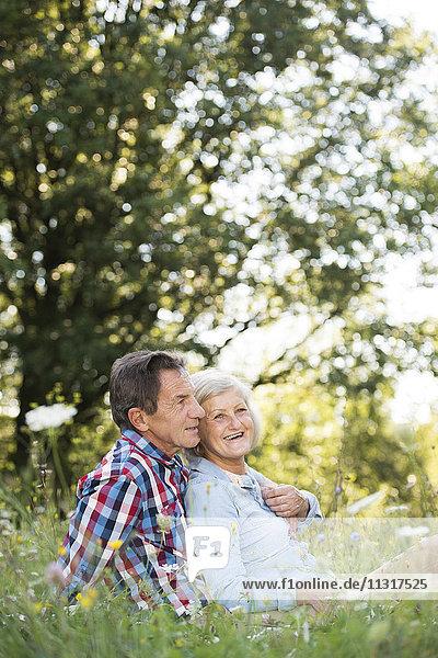 Seniorenpaar entspannt sich gemeinsam auf einer Wiese