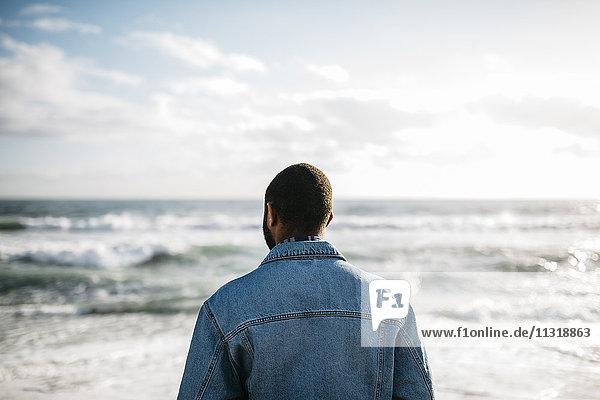Rückansicht des jungen Mannes mit Blick aufs Meer