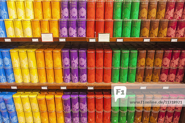 England  London  Piccadilly  Fortnum and Mason Store  Display of Colourful Biscuit Tins