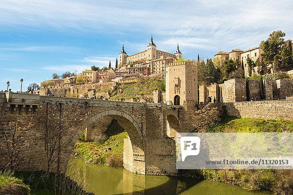 Spain  Toledo City  world heritage  Alcantara Bridge and Alcazar Castle