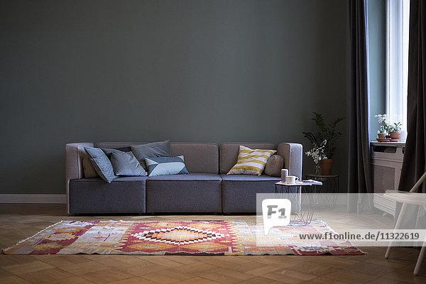 Wohnzimmer mit Couch und Teppichboden