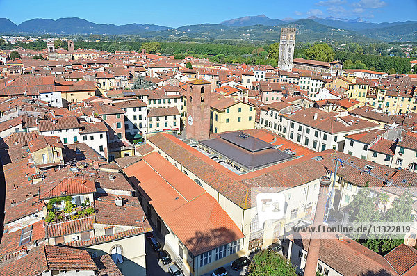 View over the roof tops of the medieval town of Lucca  Italy. In the background the Apennine mountains