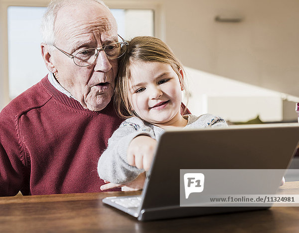 Großvater und Enkelin nutzen gemeinsam den Laptop