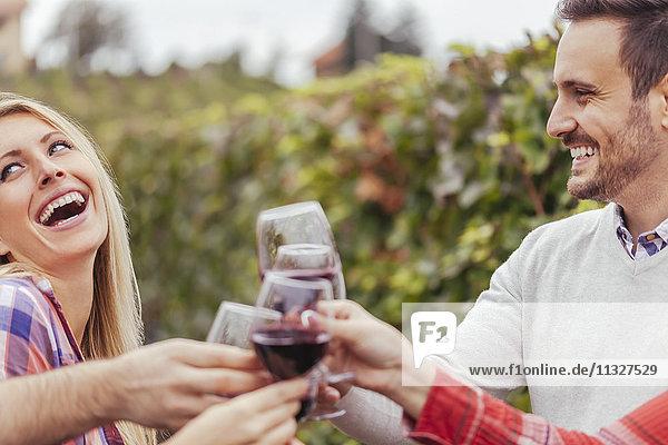 Glückliche Freunde in einem Weinberg klirrende Rotweingläser