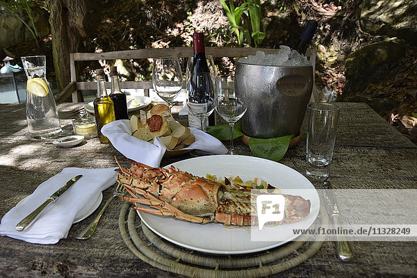 Lobster in a restaurant on Seychelles