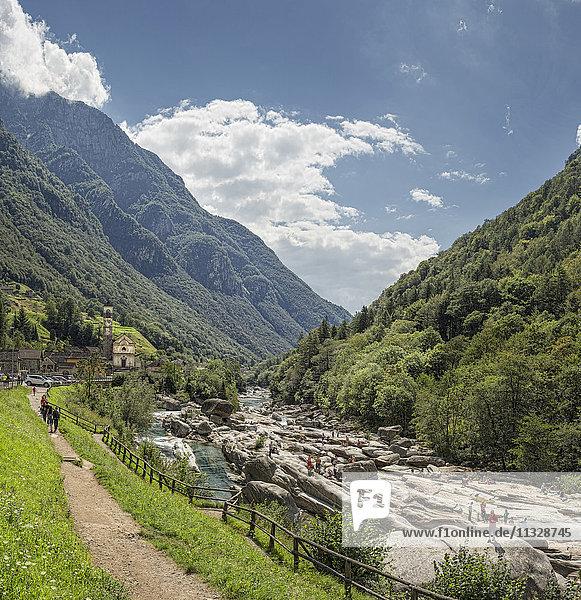Lavertezzo with Verzasca river in the Ticino