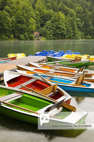 rental boats on a lake in Oberstdorf in Bavaria
