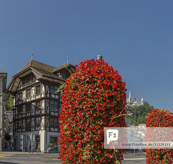 timbered house and Gütsch castle in Lucerne