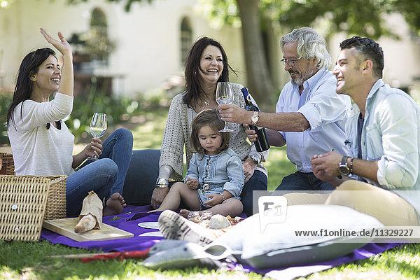 Glückliche Großfamilie beim Picknick