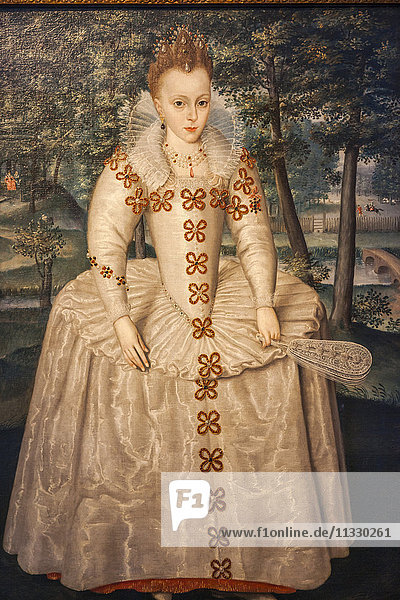 England  London  Greenwich  The Queen's House  Portrait of Princess Elizabeth (Elizabeth of Bohemia) by Robert Peake the Elder dated 1603