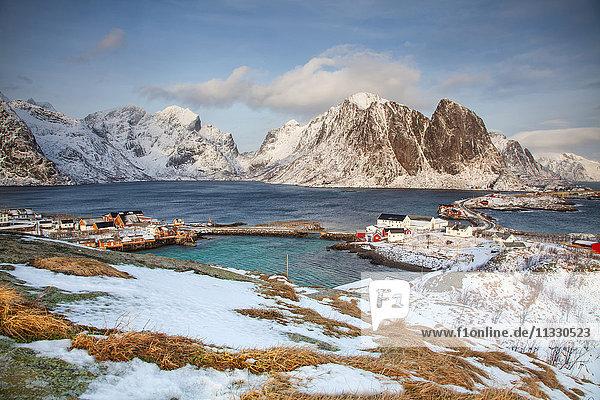 Moskenes in winter in Lofoten  Norway