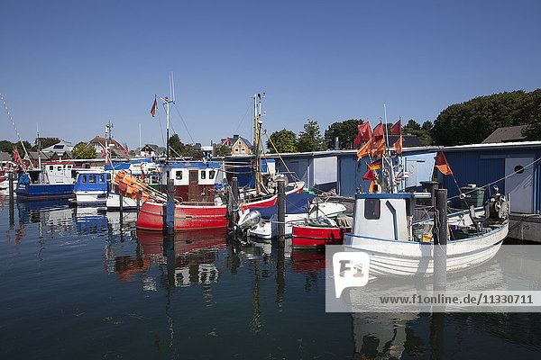 Fishing boats at Baltic Sea in Timmendorf  Schleswig-Holstein  Germany
