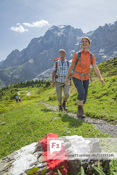 Hiking in Reichenbachtal valley in the Bernese Oberland  Switzerland