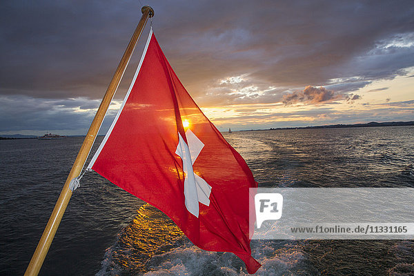 Swiss flag on a ship on Lake of Constance