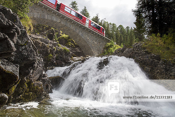 RhB Railway near Morteratsch in Engadine  Grisons