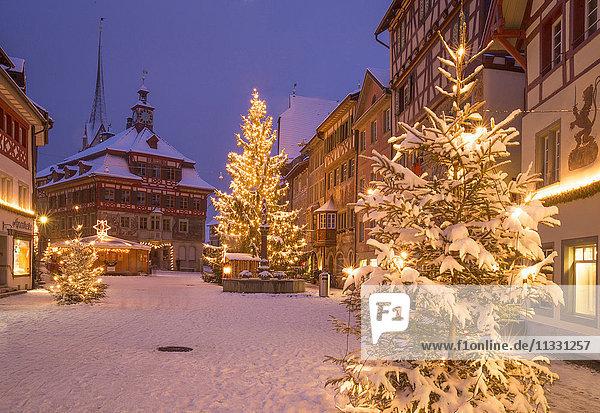 Winter in the town of Stein am Rhein  Switzerland