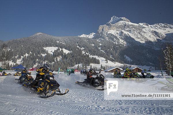 Competition Snow cross Motoneige in Gsteig  Switzerland