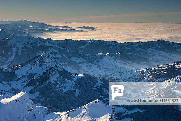 View from Säntis mountain  Switzerland  into the alps