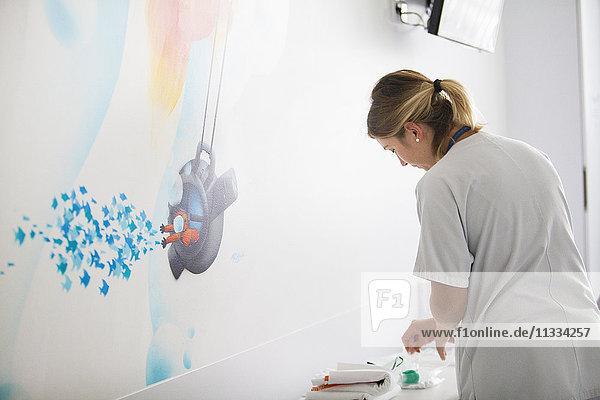 Reportage in the pediatric unit in a hospital in Haute-Savoie  France. A nurse.