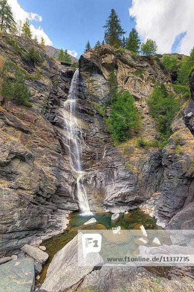 Italy  Aosta Valley  Lillaz waterfall