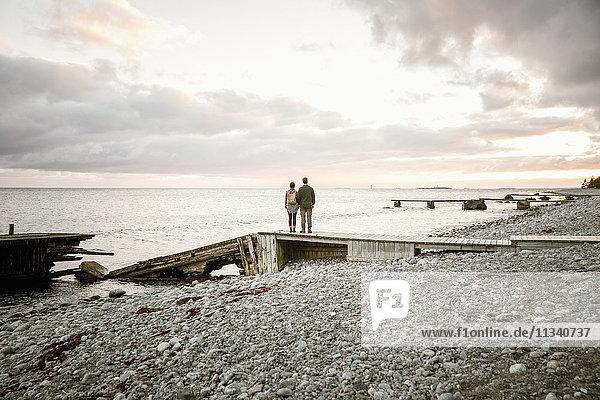 Rückansicht des Paares  das bei Sonnenuntergang auf dem Steg am Strand gegen den Himmel steht.