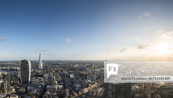 A view of London with 20 Fenchurch Street (The Walkie Talkie) and The Shard most prominent from the rooftop of Tower 42 in the City of London  London  England  United Kingdom  Europe