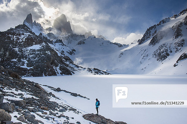 Trekking in El Chalten National Park with views over Laguna Sucia of Mt. Fitzroy and Cerro Torre. Patagonia  Argentina  South America