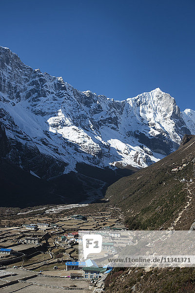 The little mountain village and monastery of Thame in the Khumbu Region  Nepal  Himalayas  Asia