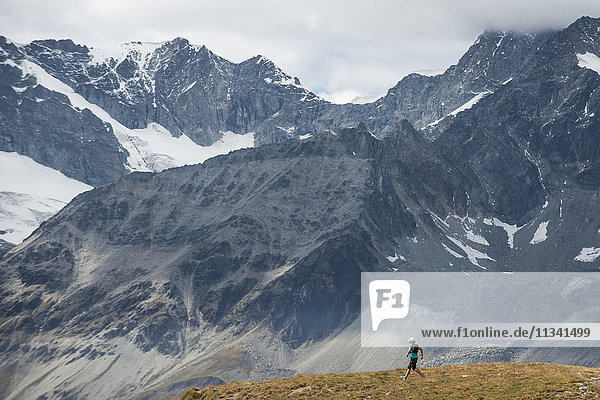Ultra running in the Swiss Alps near Zermatt  Valais  Switzerland  Europe