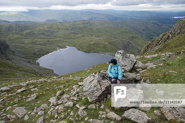Looking down on Stickle Tarn near Great Langdale in the Lake District  Cumbria  England  United Kingdom  Europe