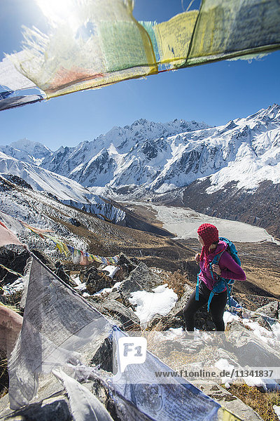 A woman trekking in the Langtang valley in Nepal stands on the top of Kyanjin Ri and looks out towards Ganchempo in the distance  Langtang Region  Nepal  Asia
