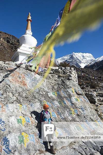 A woman trekking in the Langtang valley stops near a colorful Mani Stone wall below a Stupa decorated with Buddhist prayer flags  Langtang Region  Himalayas  Nepal  Asia