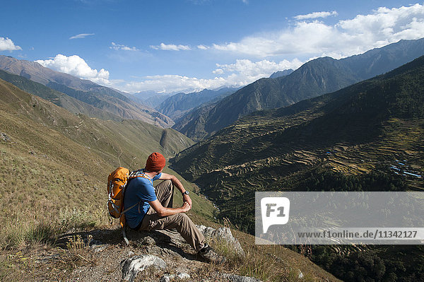 Looking east down the Juphal valley from the Balanga Langa pass in the remote Dolpa region  Himalayas  Nepal  Asia
