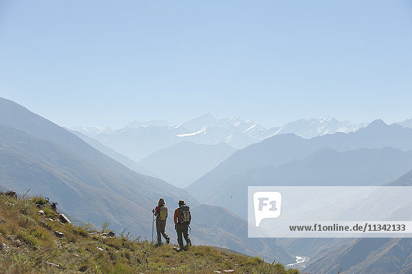 Trekking in the Juphal valley in the remote Dolpa region  Himalayas  Nepal  Asia