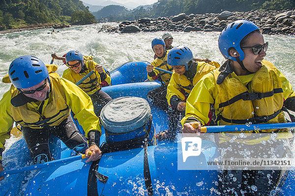Rafting trip on the Trisuli River  Nepal  Asia