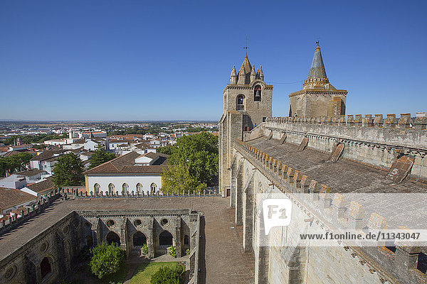 Towers  view from the roof  Evora Cathedral  Evora  UNESCO World Heritage Site  Portugal  Europe