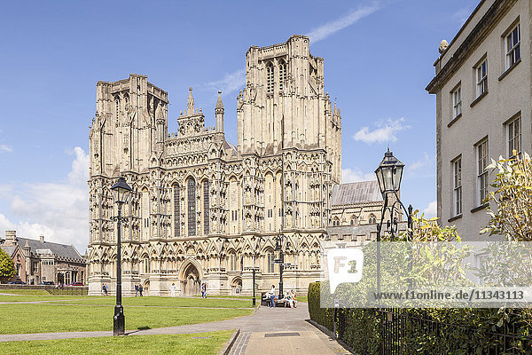 Dedicated to St. Andrew the Apostle  Wells Cathedral is the sest of the Bishop of Bath and Wells  Wells  Somerset  England  United Kingdom  Europe