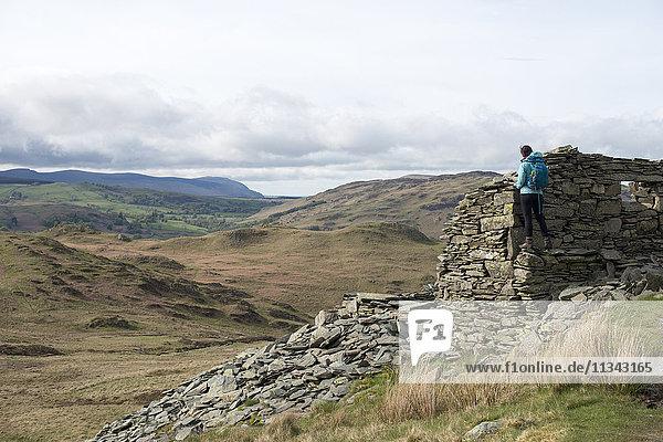 Hiking up Place Fell near Ullswater  Lake District National Park  Cumbria  England  United Kingdom  Europe