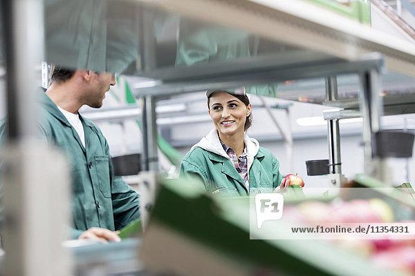 Lächelnde Arbeiter bei der Verarbeitung von Äpfeln im Lebensmittelbetrieb