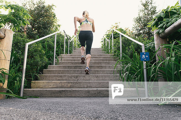Young woman exercising outdoors  running up steps  rear view  Brooklyn Bridge Park  Brooklyn  New York  USA
