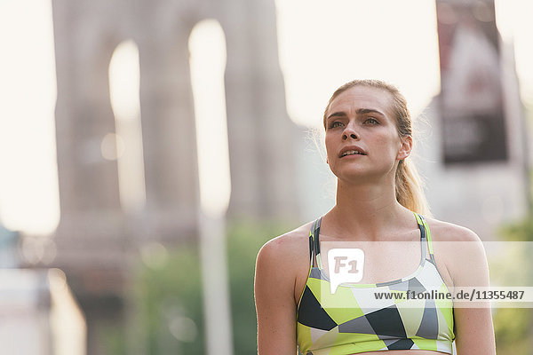 Portrait of young woman wearing sports clothing  Brooklyn  New York  USA