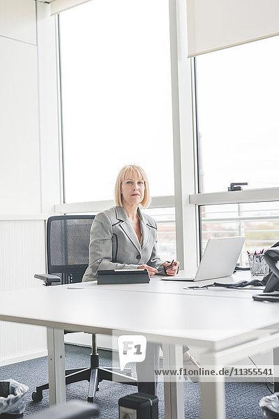 Porträt einer reifen Geschäftsfrau am Schreibtisch