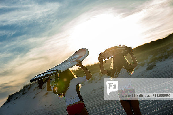 Two young girls in sea  holding surfboards  rear view