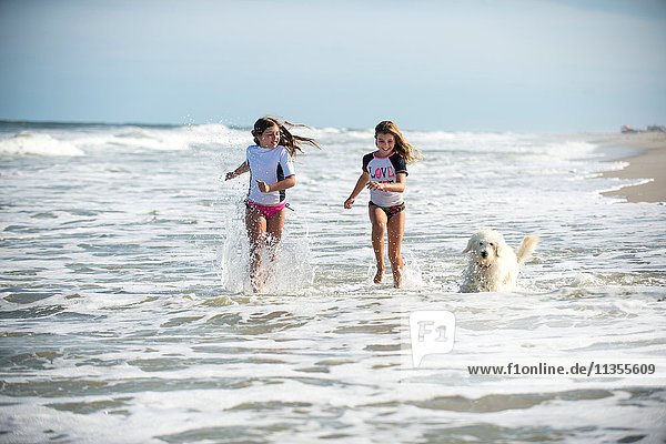 Two young girls running through sea with dog