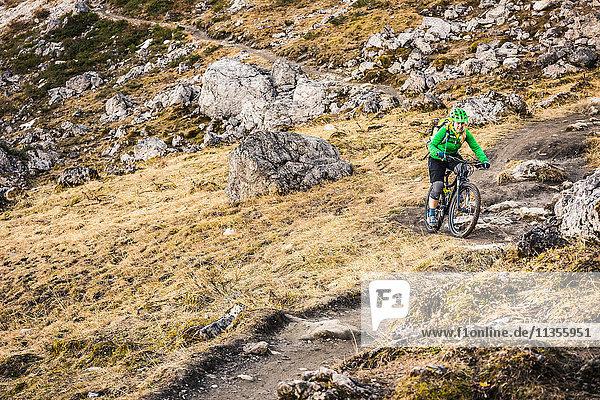 Radfahrer auf Mountainbike-Gebiet  Kleinwalsertal  Wege unterhalb der Walser Hammerspitze  Österreich