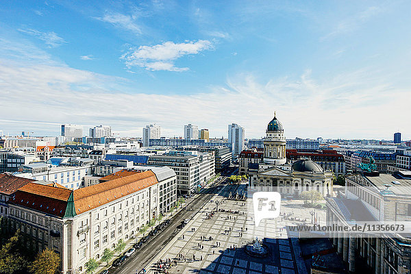 Elevated cityscape with German Cathedral and Geldarmarkt  Berlin  Germany