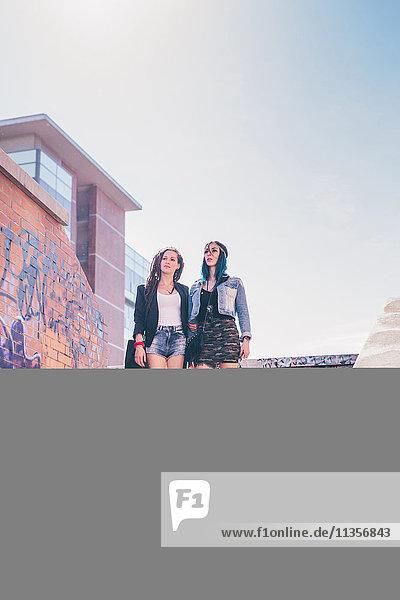 Zwei junge Frauen mit Pitbull  die von der Stadttreppe aufblicken