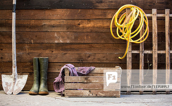 Row of spade  rubber boots and hosepipe by shed