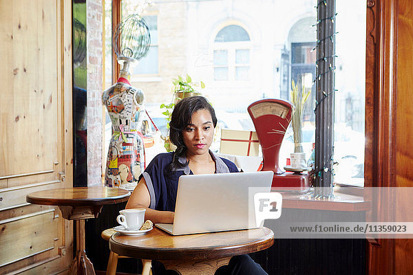 Young woman sitting in cafe  using laptop