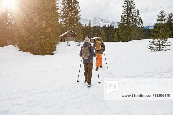 Couple snowshoeing across snowy landscape  rear view  Elmau  Bavaria  Germany